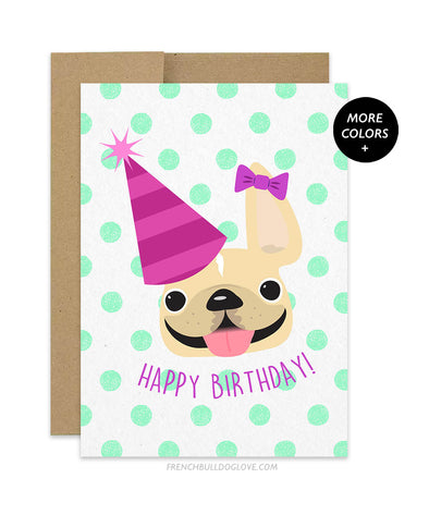 Polka Dot - Green - Frenchie Birthday Card - Girl