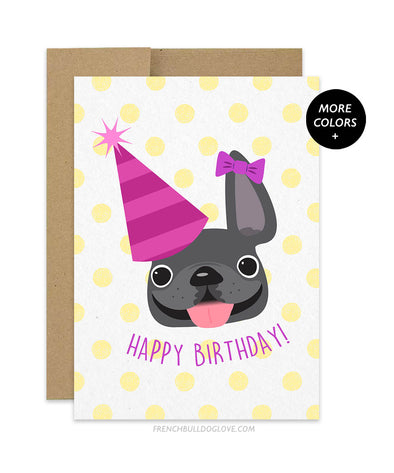 Polka Dot - Yellow - Frenchie Birthday Card - Girl