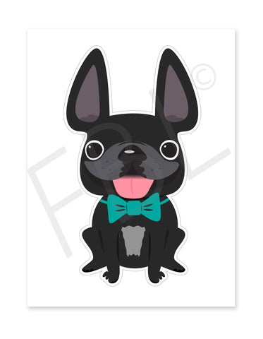 Black Boy / Large French Bulldog Sticker - French Bulldog Love