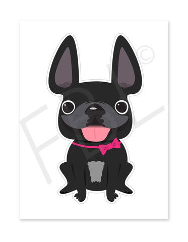 Black Girl / Large French Bulldog Sticker - French Bulldog Love