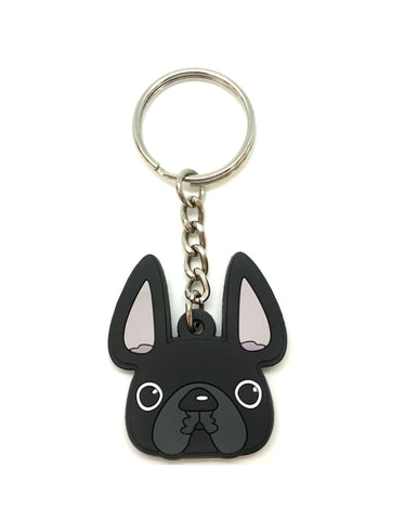 Frenchie Face Mini Keychain / Black - French Bulldog Love - 1