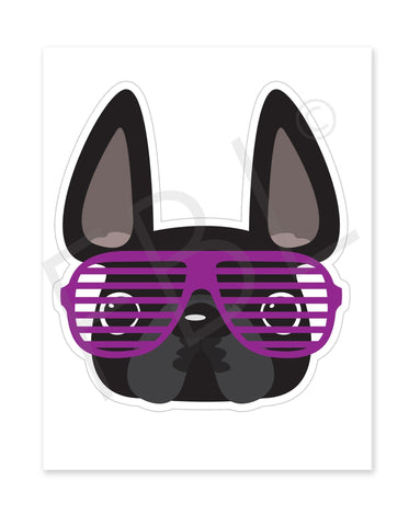 Black w Purple Shades / Large French Bulldog Sticker - French Bulldog Love