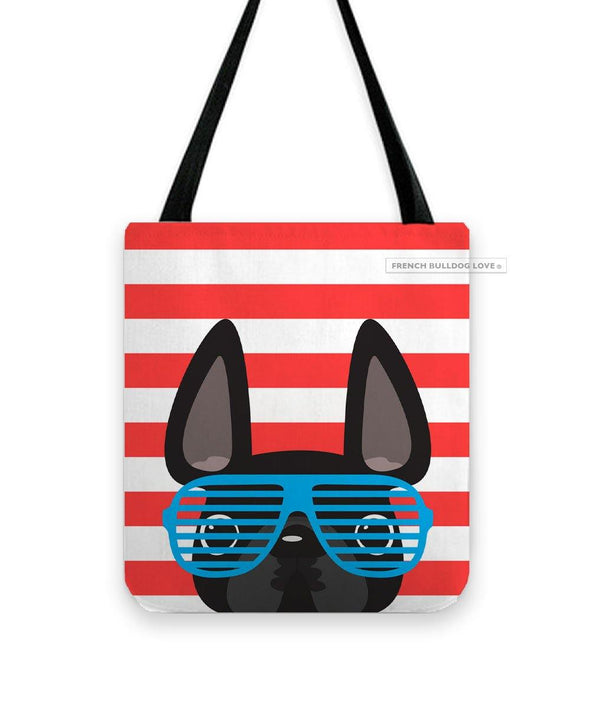 Black / Summer Shades French Bulldog on Red Tote Bag