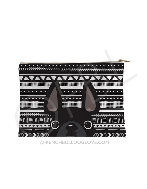 Black Mono / Geometric French Bulldog Pouch - French Bulldog Love