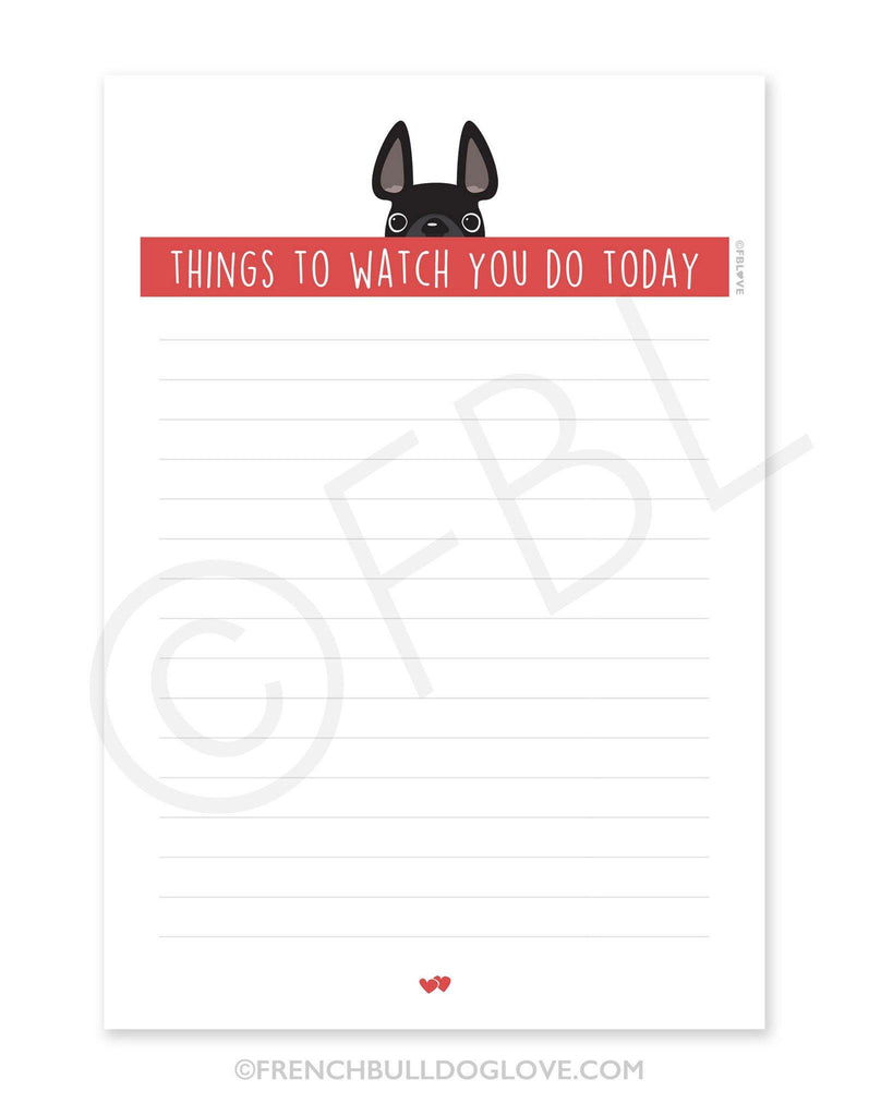 Black / Creeping French Bulldog Notepad
