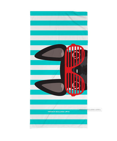 Black / Red Summer Shades French Bulldog Beach Towel - French Bulldog Love