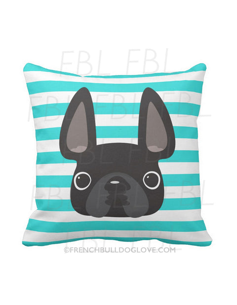 Striped French Bulldog Pillow / Black on Teal - French Bulldog Love - 1