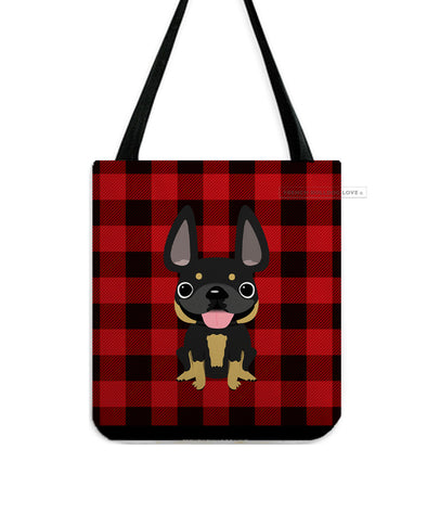 Plaid Tote Bag - Black and Tan French Bulldog Tote Bag