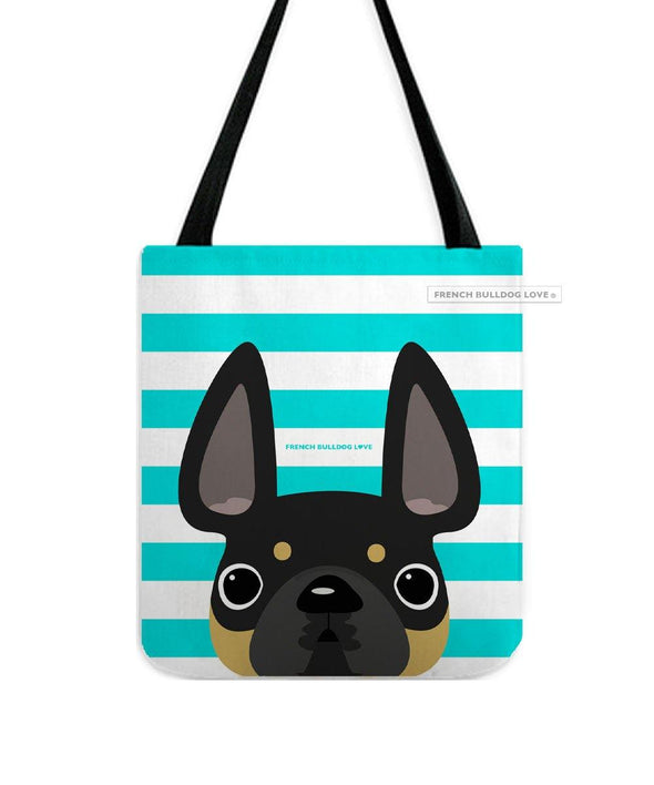 Black and Tan / Striped French Bulldog Tote Bag