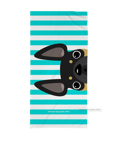 Black & Tan / Striped French Bulldog Beach Towel