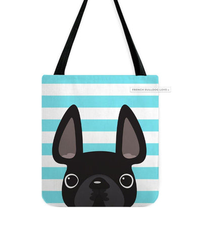 Black / Teal Striped French Bulldog Tote Bag