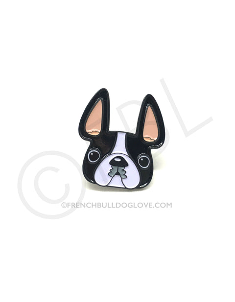 French Bulldog Enamel Pin - Black/White Pied