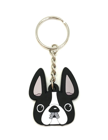 Frenchie Face Mini Keychain / Black & White Pied - French Bulldog Love - 1