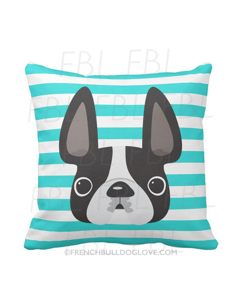 Striped French Bulldog Pillow / Black & White on Teal - French Bulldog Love - 1