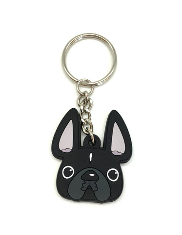 Frenchie Face Mini Keychain / Black with White Stripe - French Bulldog Love - 1
