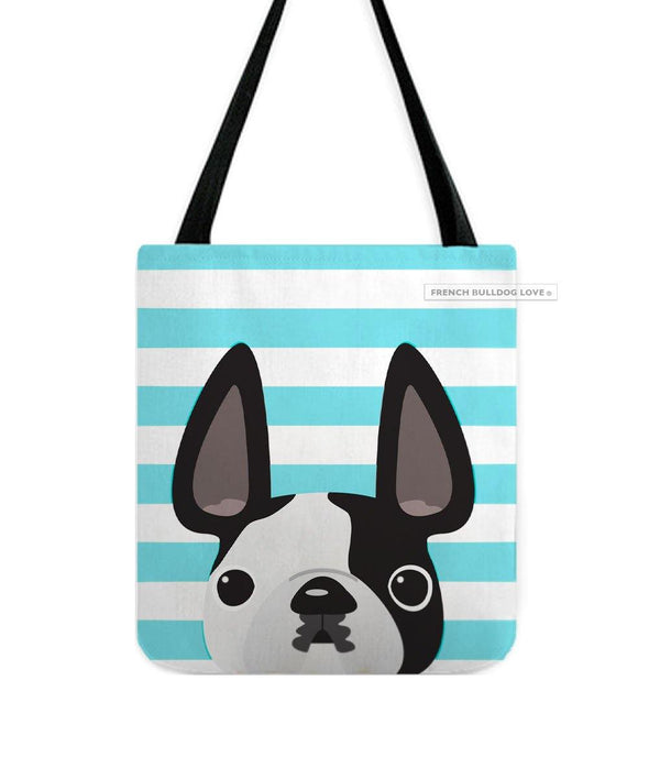 Black Pied / Teal Striped French Bulldog Tote Bag