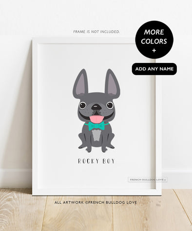 Frenchie Portrait - Bow Tie - Custom French Bulldog Print 8x10