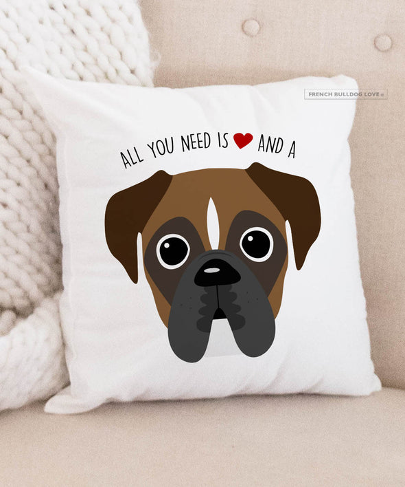 Boxer Pillow - All You Need is Love & a Boxer - Dark Pied