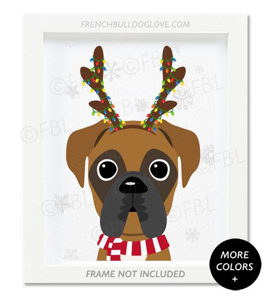 Boxer With Antlers - Custom Holiday Boxer Print 8x10
