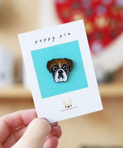 Boxer Enamel Pin - Light Pied Boxer
