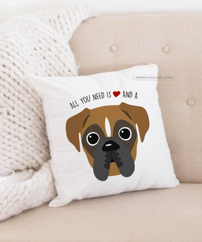 Boxer Pillow - All You Need is Love & a Boxer - Fawn Stripe