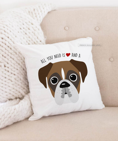 Boxer Pillow - All You Need is Love & a Boxer - Light Pied