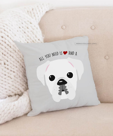 Boxer Pillow - All You Need is Love & a Boxer - White