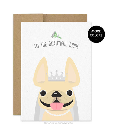 Frenchie Bride French Bulldog Wedding Card