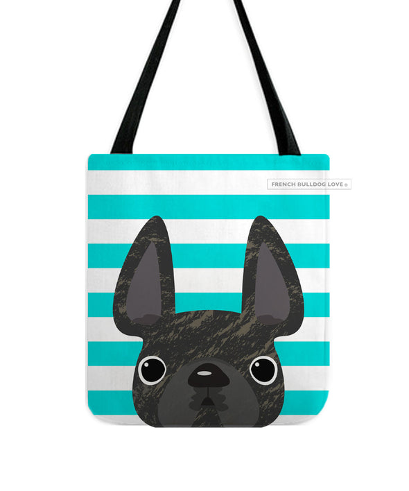 Brindle / Teal Striped French Bulldog Tote Bag