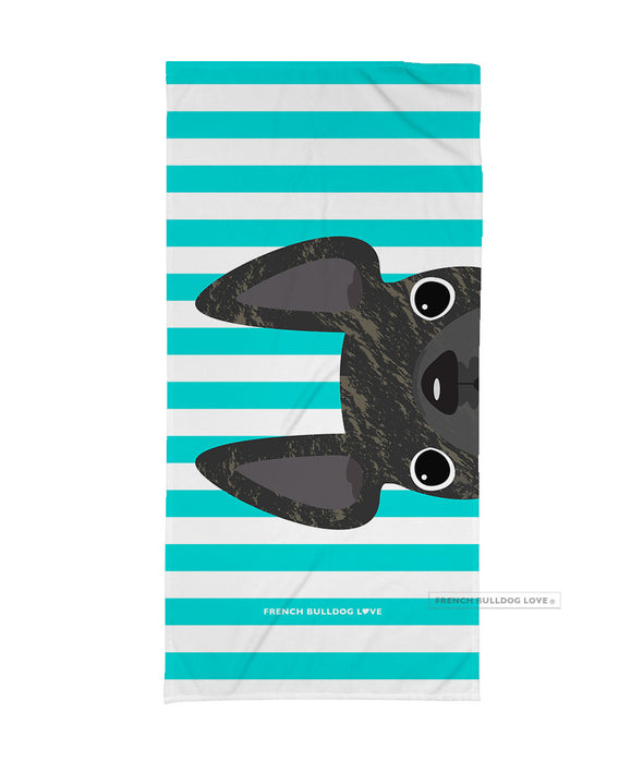 Brindle / Striped French Bulldog Beach Towel