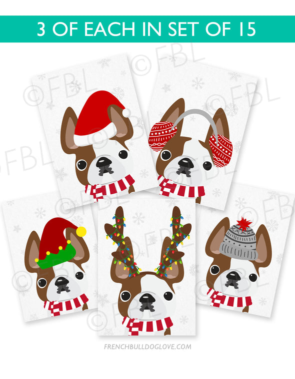 Festive Frenchies 15 Card Holiday Box Set - French Bulldog Love - 5