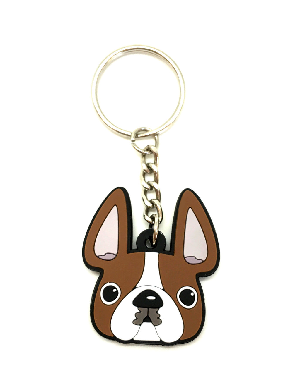 Frenchie Face Mini Keychain / Red Pied - French Bulldog Love - 1