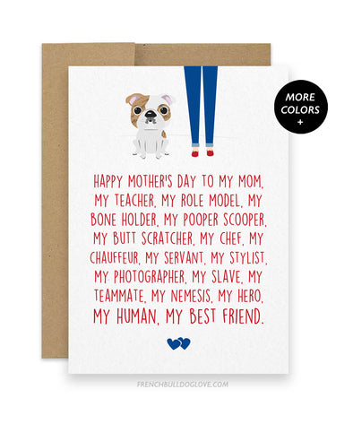 Mom Servant - English Bulldog Mother's Day Card