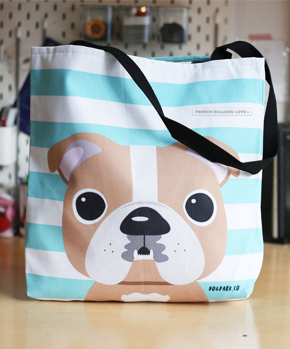 Bulldog Tote Bag - Tan Pied