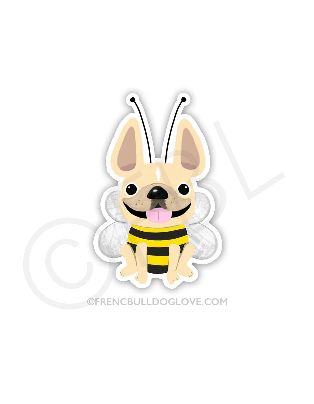 #100DAYPROJECT 46/100 - BUMBLE BEE VINYL FRENCH BULLDOG STICKER