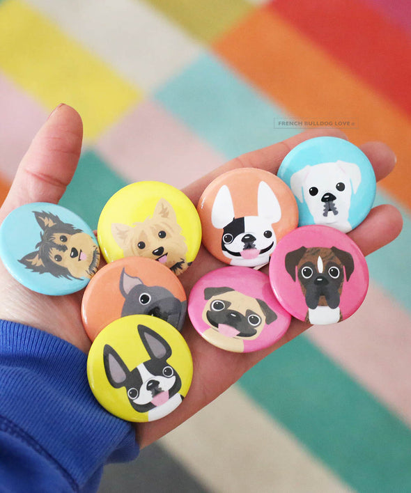 Mini French Bulldog Button - 1.5 inch - Brindle