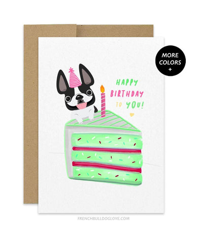 CAKE 9 - French Bulldog Birthday Card