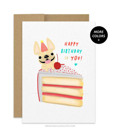 CAKE 1 - French Bulldog Birthday Card