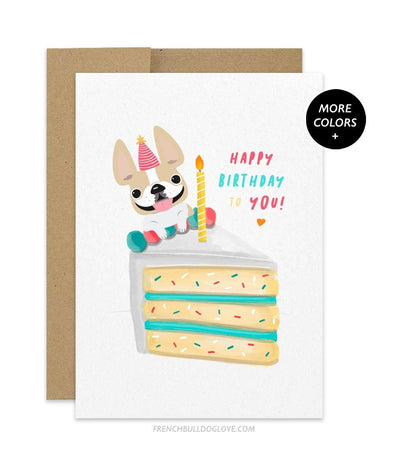CAKE 7 - French Bulldog Birthday Card