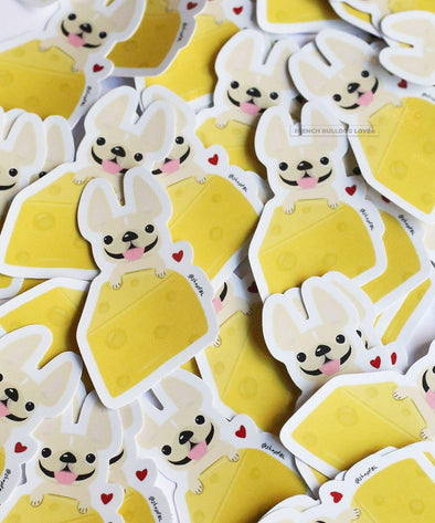 CHEESE STICKER - WATERPROOF VINYL FRENCH BULLDOG STICKER