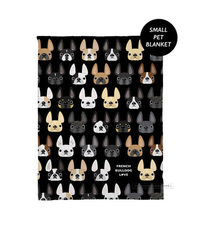 The Classic Black - French Bulldog Pet Fleece Blanket - Small