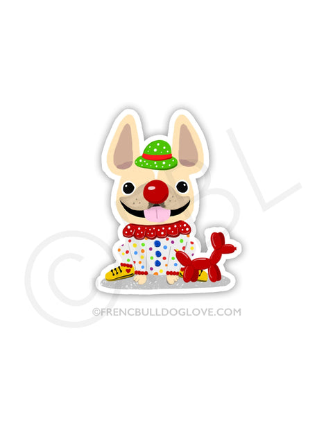 #100DAYPROJECT 39/100 - CLOWN VINYL FRENCH BULLDOG STICKER