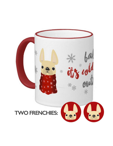 Baby It's Cold Outside Double Frenchie Coffee Mug / Cream Stripe & All Cream - French Bulldog Love - 1