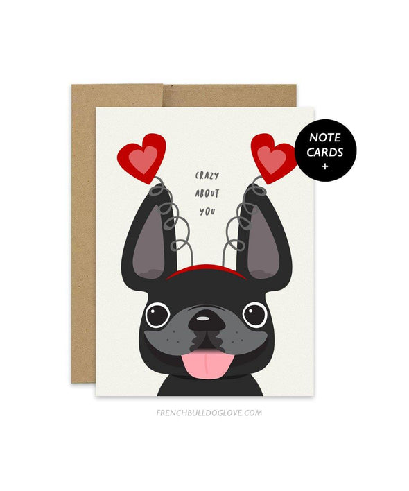 Crazy About You - French Bulldog Note Cards - Set of 12