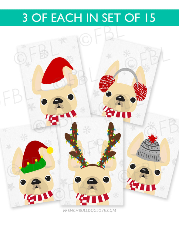 Festive Frenchies 15 Card Holiday Box Set - French Bulldog Love - 9