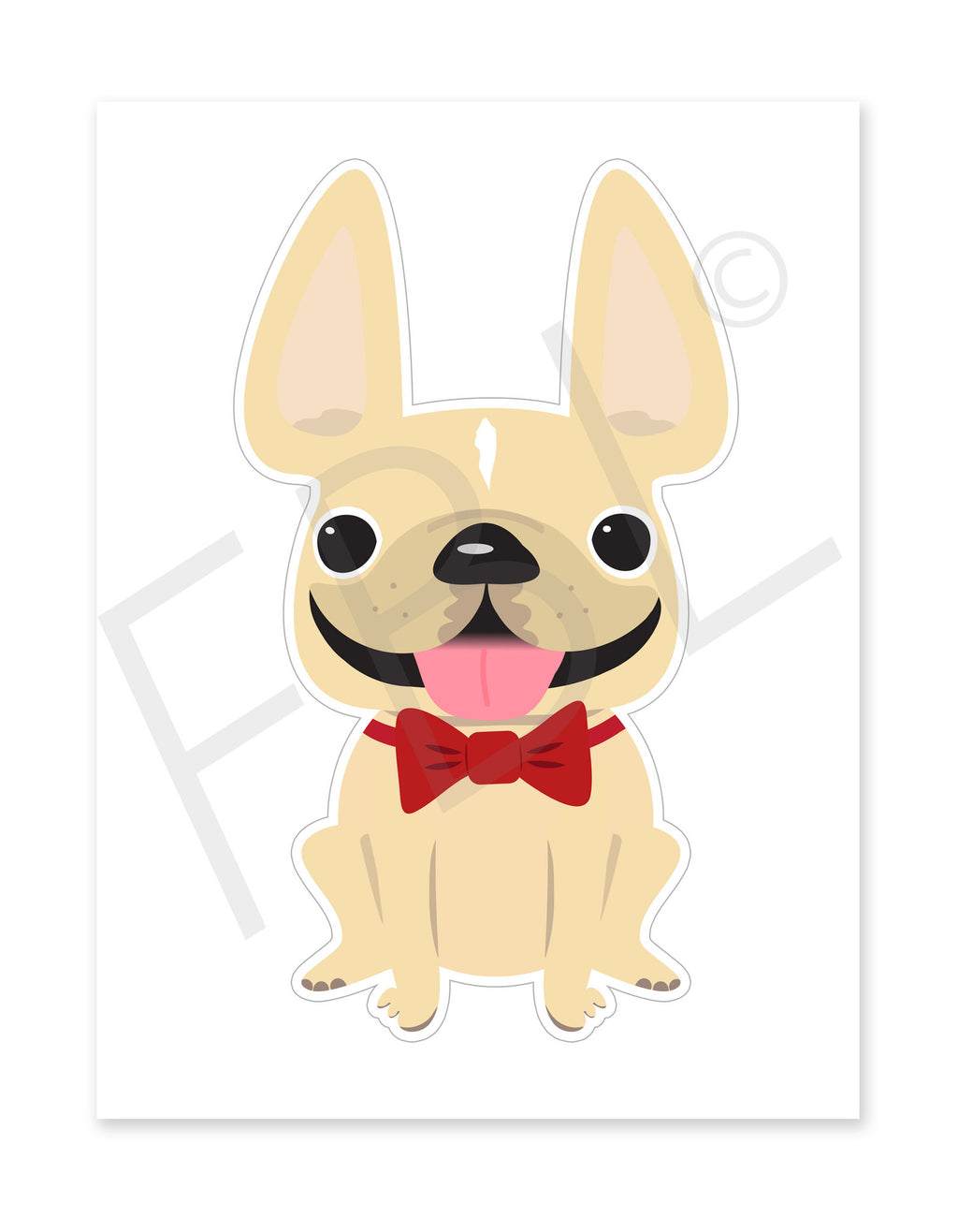 Cream Boy / Large French Bulldog Sticker - French Bulldog Love