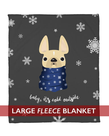 Baby It's Cold Outside Cream w/ Blue Fleece Blanket - Large - French Bulldog Love
