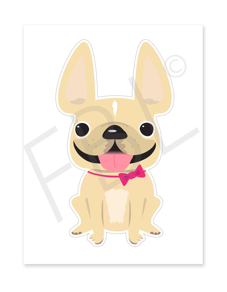 Cream Girl / Large French Bulldog Sticker - French Bulldog Love