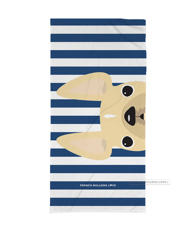 Cream / Navy Striped French Bulldog Beach Towel