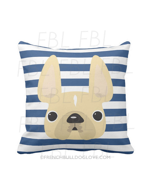 Striped French Bulldog Pillow / Cream on Navy - French Bulldog Love - 1